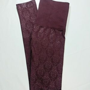 Burgundy Damask Patterned Leggings 1X